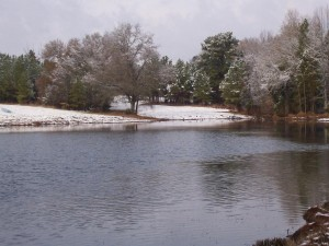 Pond during snow
